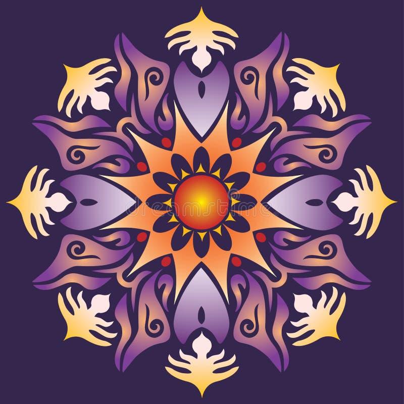 Ενιαίο Mandala - αφηρημένα ιώδη πορτοκαλιά χρώματα μορφών γεωμετρίας διανυσματική απεικόνιση