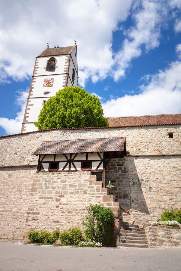 Ενισχυμένη εκκλησία στη νότια Γερμανία Bergfelden στοκ φωτογραφίες με δικαίωμα ελεύθερης χρήσης
