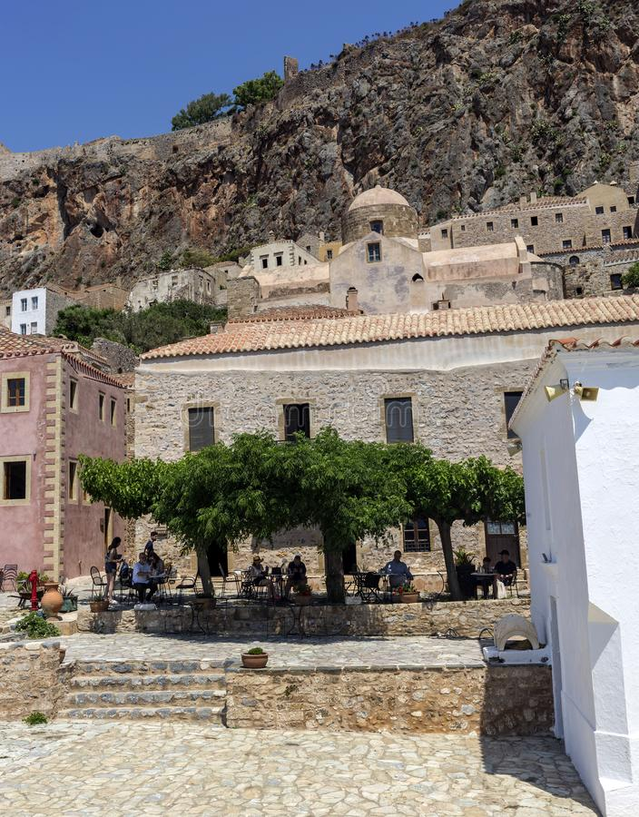 Ενισχυμένη πόλη Monemvasia Laconia, Ελλάδα, Πελοπόννησος στοκ φωτογραφία με δικαίωμα ελεύθερης χρήσης