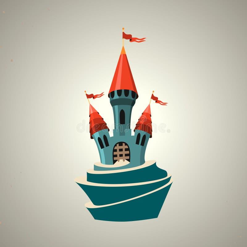 Ενισχυμένο κινούμενα σχέδια κάστρο με τις σημαίες. Εικονίδιο. διανυσματική απεικόνιση