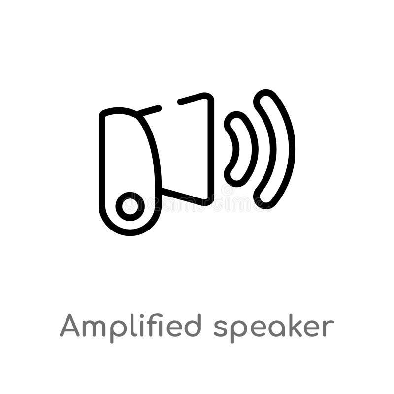 ενισχυμένο περίληψη διανυσματικό εικονίδιο ομιλητών απομονωμένη μαύρη απλή απεικόνιση στοιχείων γραμμών από την έννοια ενδιάμεσων διανυσματική απεικόνιση