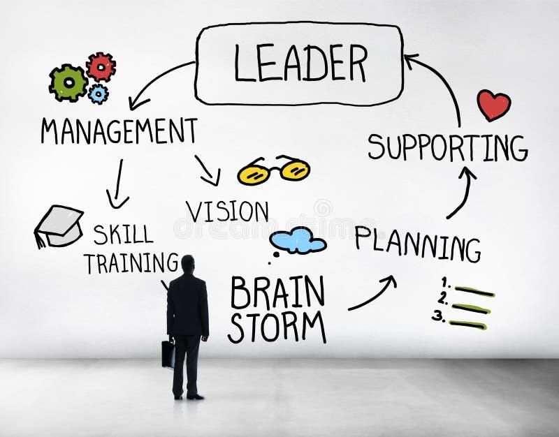 Ενισχυτική έννοια διοικητικού οράματος ηγεσίας ηγετών διανυσματική απεικόνιση