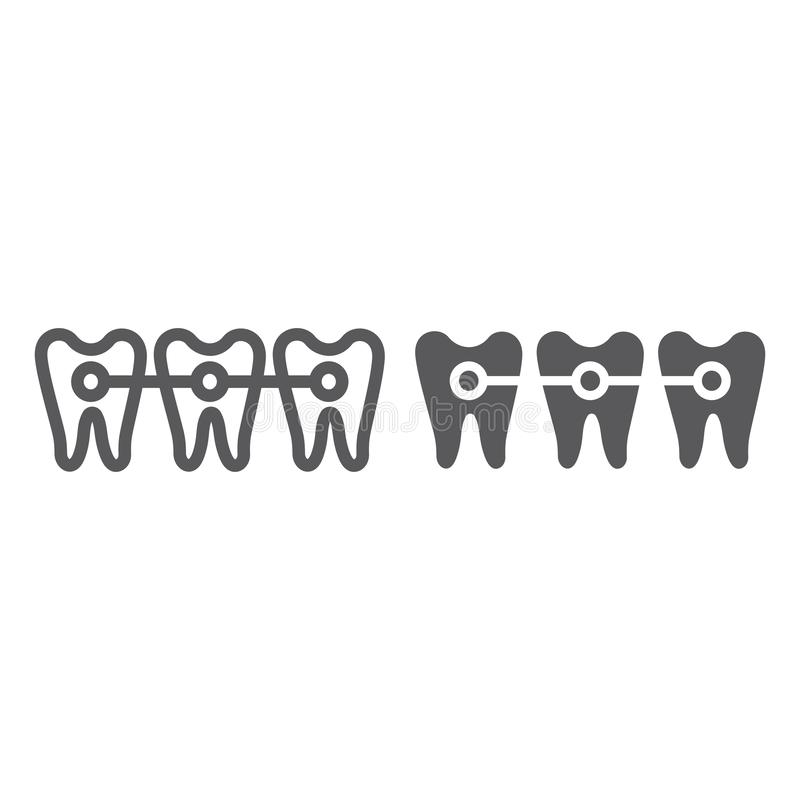 Ενισχύει τη γραμμή και glyph το εικονίδιο, οδοντίατρος και οδοντικός, σημάδι δοντιών, διανυσματική γραφική παράσταση, ένα γραμμικ απεικόνιση αποθεμάτων