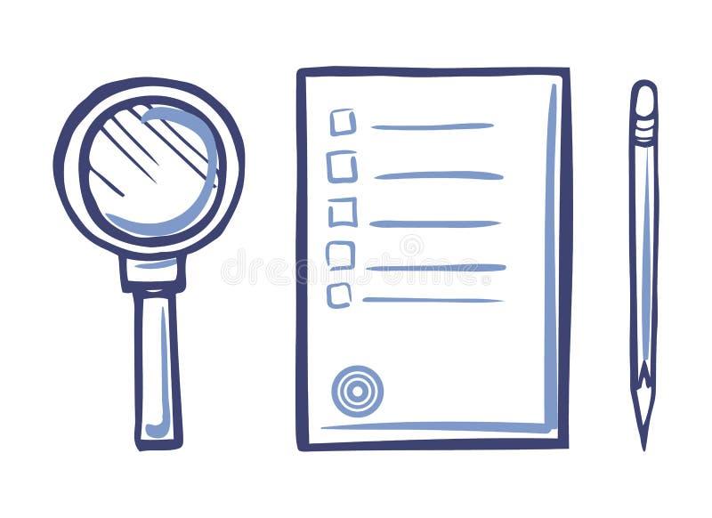 Ενισχύοντας - γυαλί, εικονίδιο εγγράφου γραφείων, αιχμηρό μολύβι ελεύθερη απεικόνιση δικαιώματος