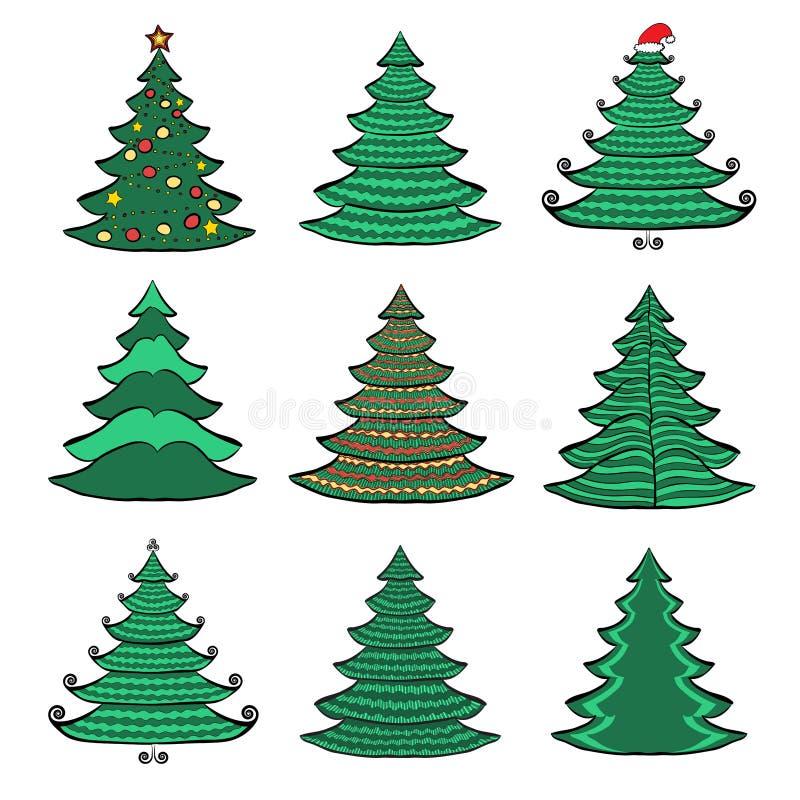 Εννέα δέντρα χρώματος Χριστουγέννων στο άσπρο σύνολο 1 απεικόνιση αποθεμάτων