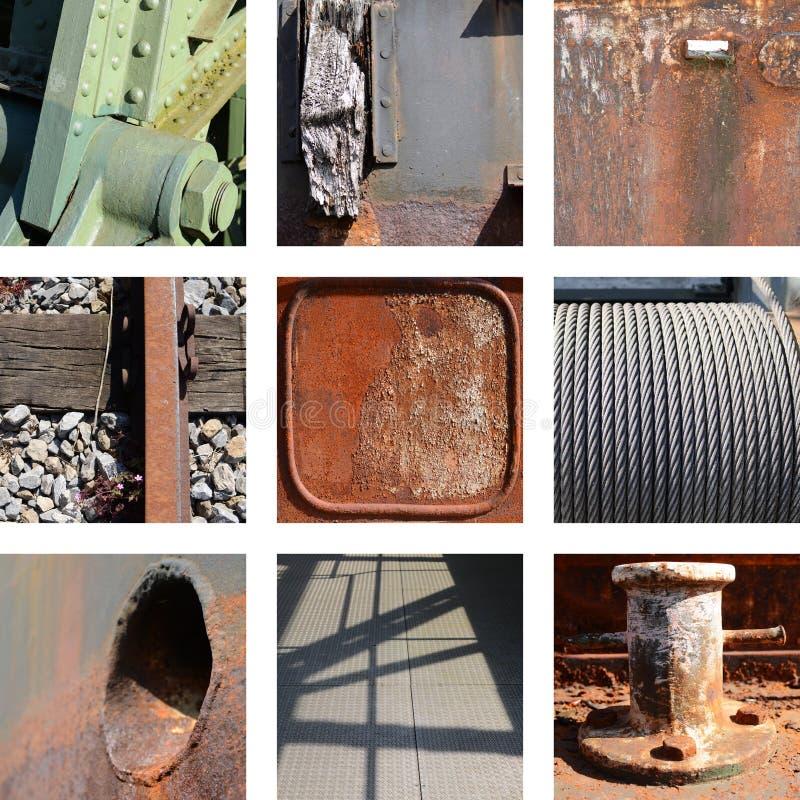Εννέα σκουριασμένες πιάτα και δομές σιδήρου στοκ εικόνα
