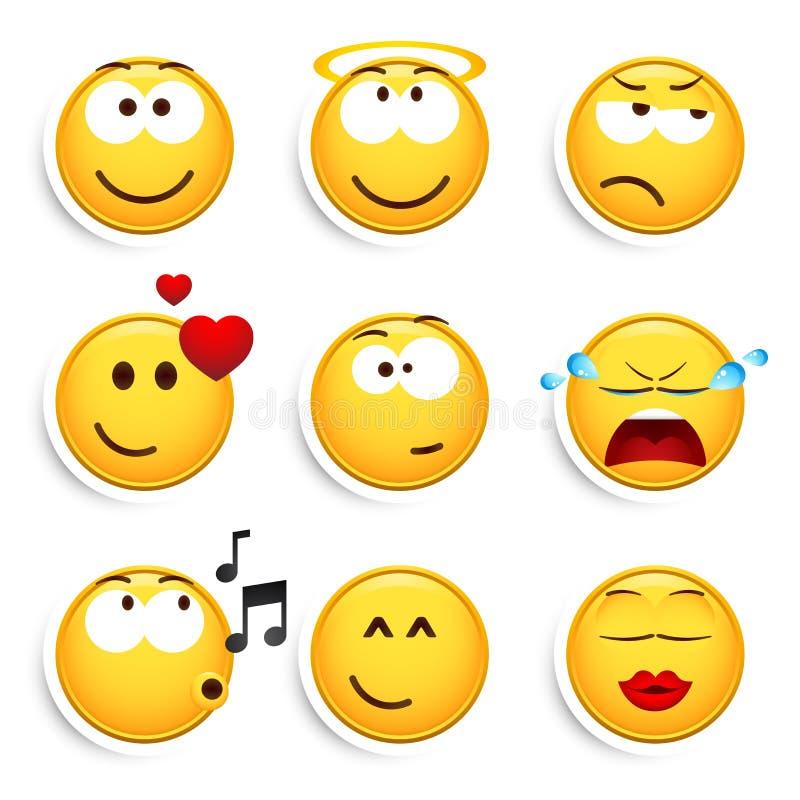 εννέα σύνολο smileys ελεύθερη απεικόνιση δικαιώματος
