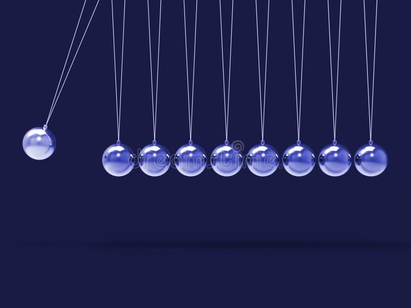 Εννέα το ασημένιο Newtons λίκνο παρουσιάζει κενές σφαίρες Copyspace για 9 Λ ελεύθερη απεικόνιση δικαιώματος