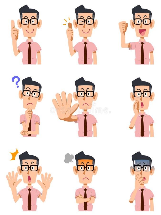 Εννέα τύποι χειρονομιών και εκφράσεις του προσώπου ενός αρσενικού ελεύθερη απεικόνιση δικαιώματος