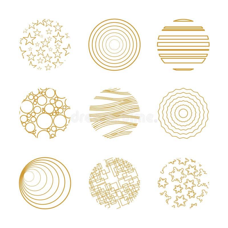 Εννέα χρυσά στοιχεία Χριστουγέννων ελεύθερη απεικόνιση δικαιώματος