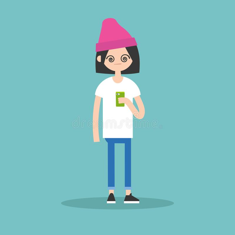 Εννοιολογική απεικόνιση: το νέο κορίτσι από το smartphone της διανυσματική απεικόνιση
