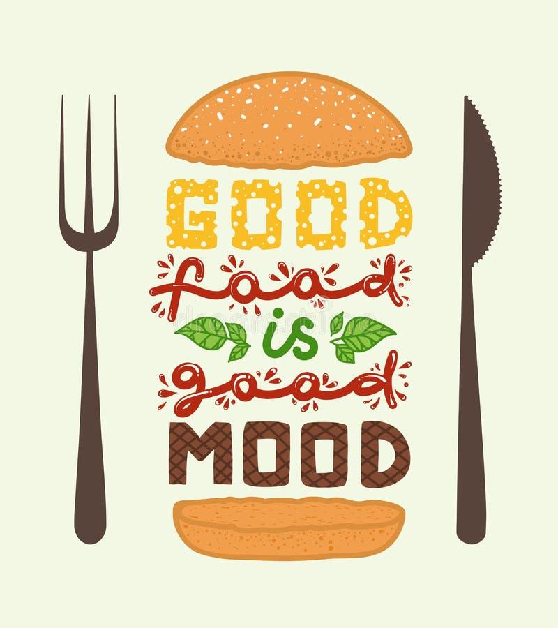 Εννοιολογική τέχνη burger Αναφέρει ` που τα καλά τρόφιμα είναι καλή διάθεση ` Διανυσματική απεικόνιση της φράσης εγγραφής Αφίσα κ διανυσματική απεικόνιση