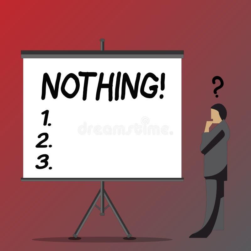 Σημάδι κειμένων που δεν παρουσιάζει τίποτα Εννοιολογική φωτογραφία όχι τίποτα καμία απουσία πράγματος ή αξίας κενού επιχειρηματία ελεύθερη απεικόνιση δικαιώματος