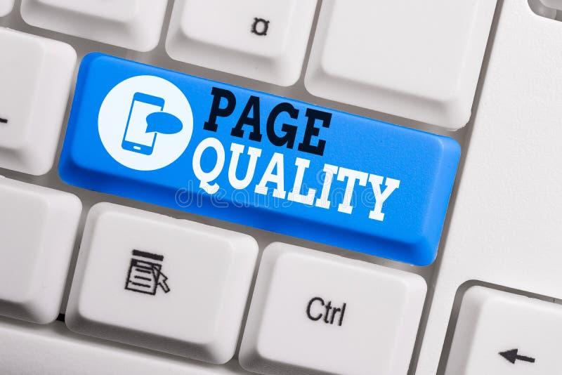 Εννοιολογική χειρόγραφη γραφή που δείχνει την ποιότητα σελίδας Κείμενο επαγγελματικής φωτογραφίας Αποτελεσματικότητα μιας ιστοσελ στοκ εικόνα