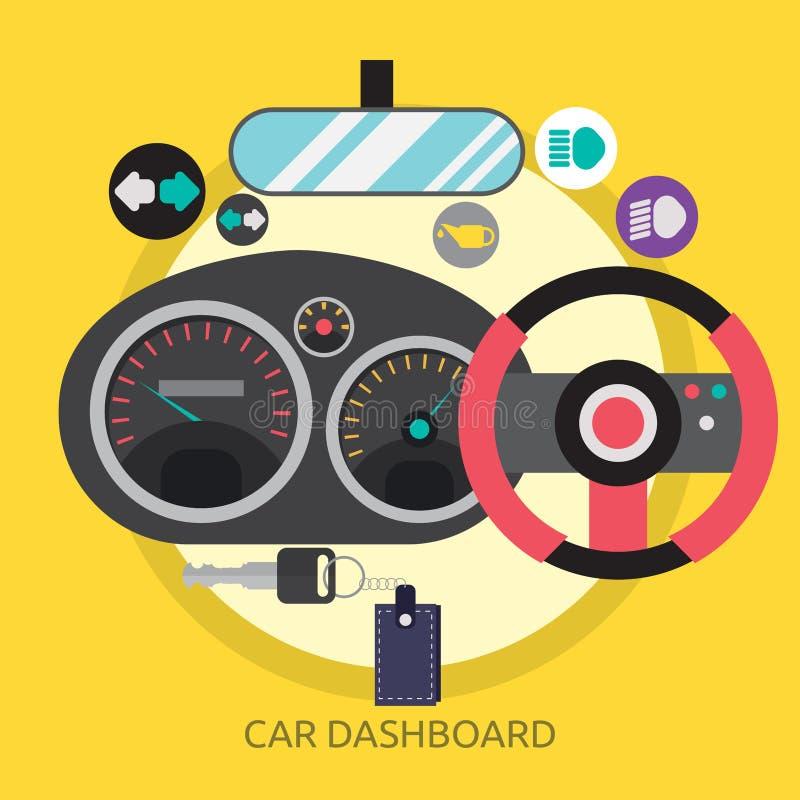 Εννοιολογικό σχέδιο ταμπλό αυτοκινήτων διανυσματική απεικόνιση