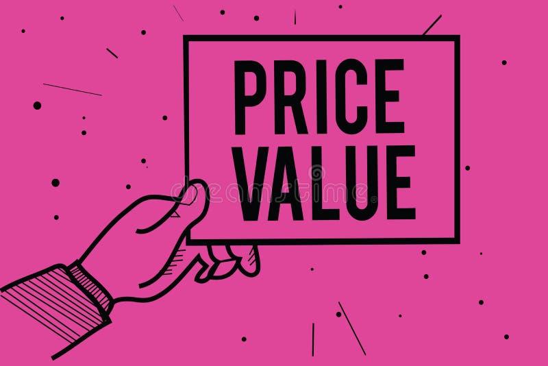 Εννοιολογικό χέρι που γράφει παρουσιάζοντας αξία τιμών Στρατηγική επίδειξης επιχειρησιακών φωτογραφιών που θέτει το κόστος πρώτισ απεικόνιση αποθεμάτων