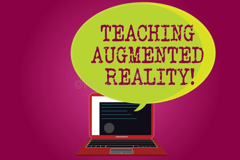 Εννοιολογικό χέρι που γράφει παρουσιάζοντας αυξημένη διδασκαλία πραγματικότητα Κείμενο επιχειρησιακών φωτογραφιών η χρήση του AR  διανυσματική απεικόνιση