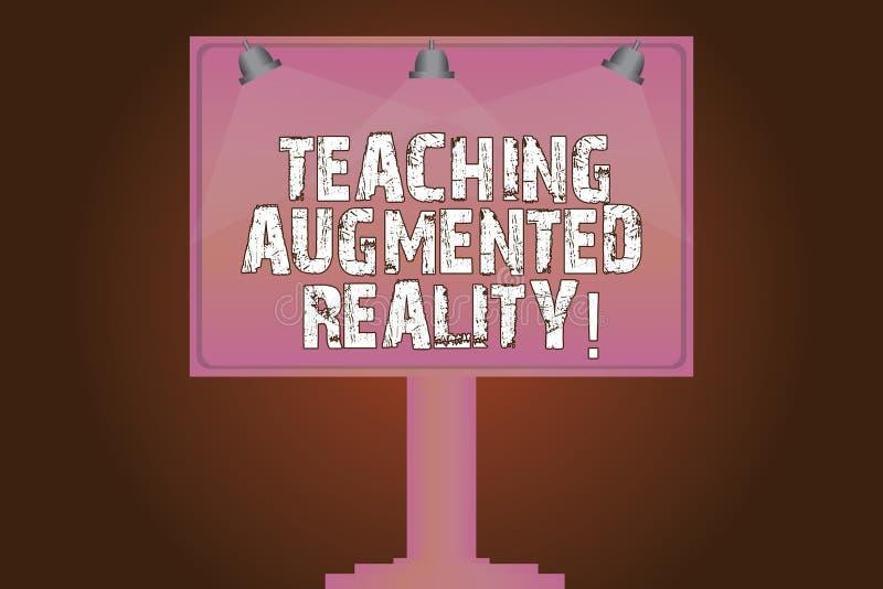 Εννοιολογικό χέρι που γράφει παρουσιάζοντας αυξημένη διδασκαλία πραγματικότητα Κείμενο επιχειρησιακών φωτογραφιών η χρήση του AR  απεικόνιση αποθεμάτων
