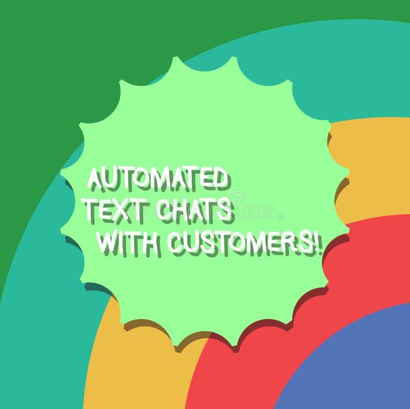 Εννοιολογικό χέρι που γράφει παρουσιάζοντας αυτοματοποιημένες συνομιλίες κειμένων με τους πελάτες Επιχειρησιακή φωτογραφία που επ διανυσματική απεικόνιση