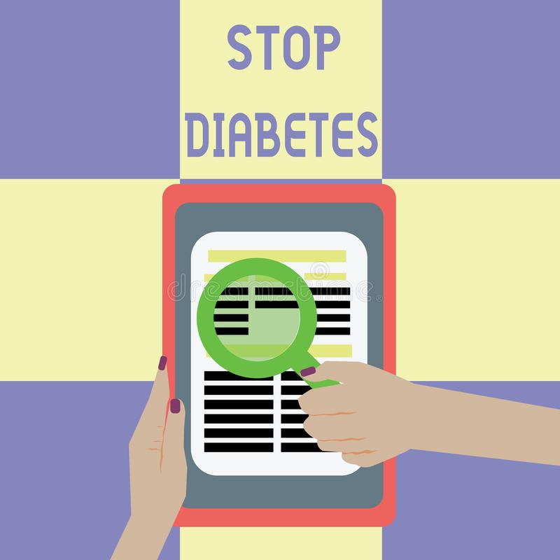 Εννοιολογικό χέρι που γράφει παρουσιάζοντας διαβήτη στάσεων Το επίπεδο ζάχαρης αίματος επίδειξης επιχειρησιακών φωτογραφιών είναι απεικόνιση αποθεμάτων