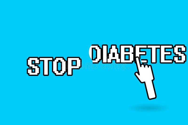 Εννοιολογικό χέρι που γράφει παρουσιάζοντας διαβήτη στάσεων Το επίπεδο ζάχαρης αίματος επίδειξης επιχειρησιακών φωτογραφιών είναι διανυσματική απεικόνιση