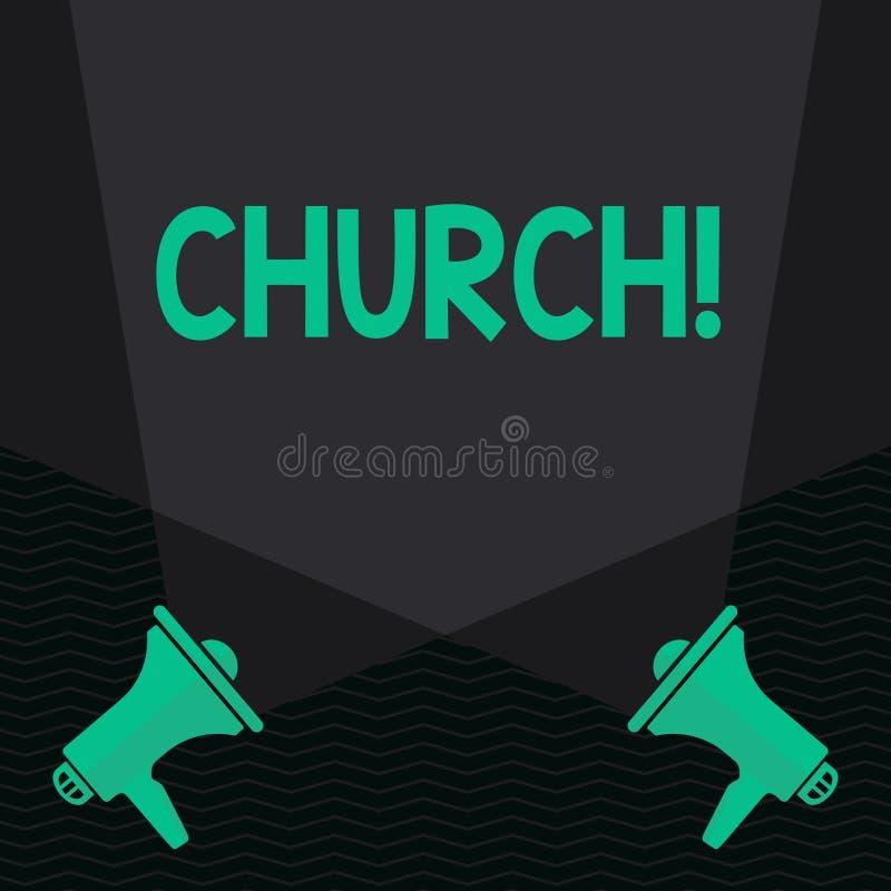 Εννοιολογικό χέρι που γράφει παρουσιάζοντας εκκλησία Η λάρνακα αδύτων μουσουλμανικών τεμενών παρεκκλησιών πύργων βωμών καθεδρικών απεικόνιση αποθεμάτων