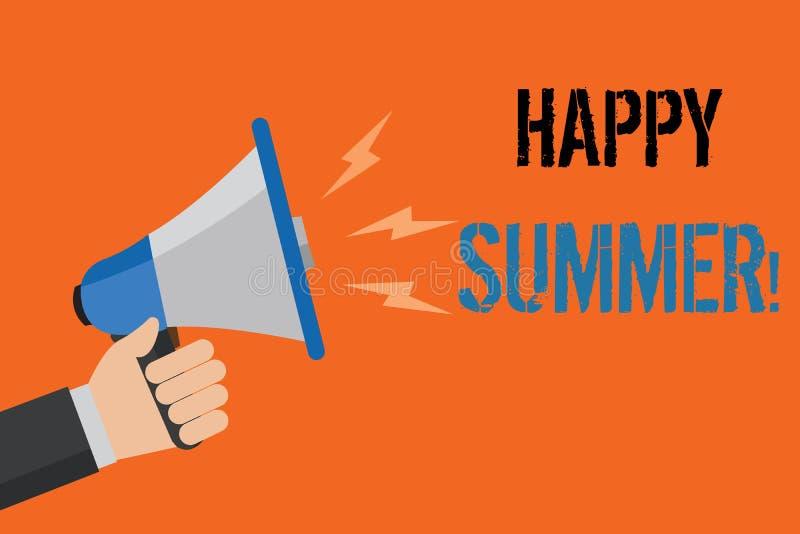 Εννοιολογικό χέρι που γράφει παρουσιάζοντας ευτυχές καλοκαίρι Θερμή ηλιόλουστη εποχή Solstice χαλάρωσης ηλιοφάνειας παραλιών κειμ ελεύθερη απεικόνιση δικαιώματος