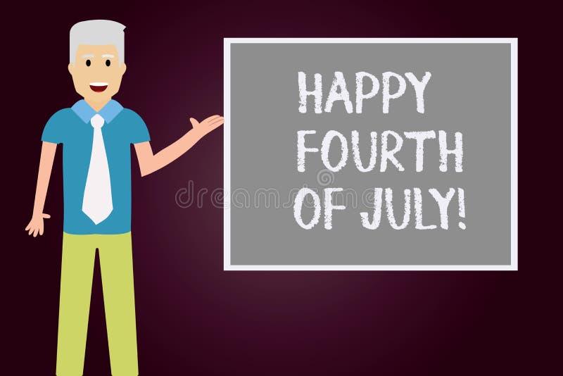 Εννοιολογικό χέρι που γράφει παρουσιάζοντας ευτυχές τέταρτο του Ιουλίου Ημέρα της ανεξαρτησίας των Ηνωμένων Πολιτειών της Αμερική απεικόνιση αποθεμάτων