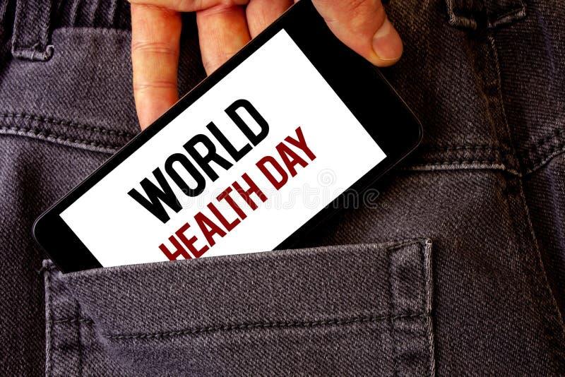 Εννοιολογικό χέρι που γράφει παρουσιάζοντας ημέρα παγκόσμιας υγείας Επιχειρησιακή φωτογραφία που επιδεικνύει την ειδική ημερομηνί στοκ εικόνες
