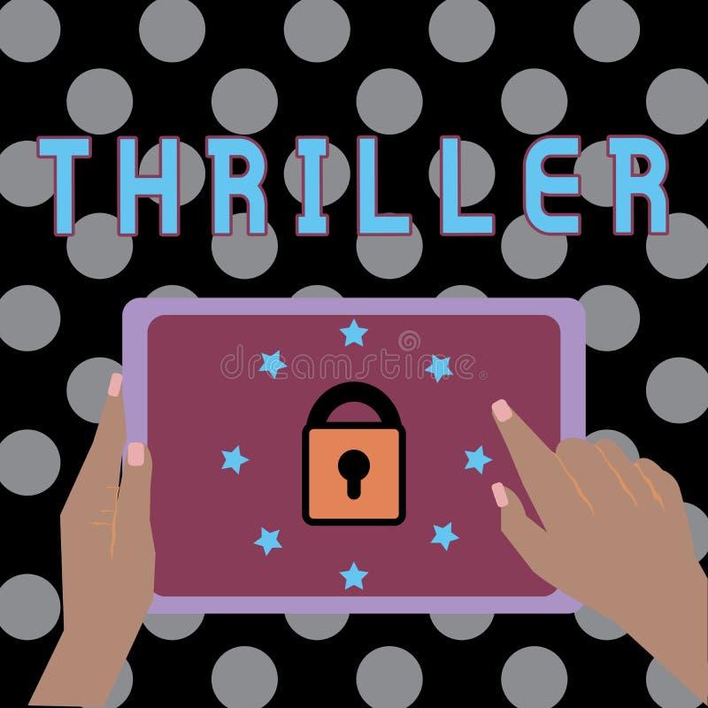 Εννοιολογικό χέρι που γράφει παρουσιάζοντας θρίλλερ Νέα παιχνίδι ή ταινία κειμένων επιχειρησιακών φωτογραφιών με τη διέγερση της  διανυσματική απεικόνιση