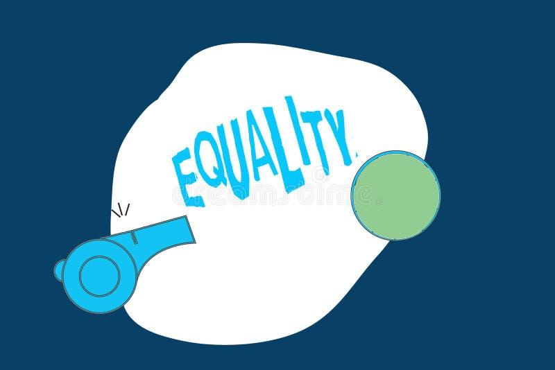 Εννοιολογικό χέρι που γράφει παρουσιάζοντας ισότητα Κατάσταση κειμένων επιχειρησιακών φωτογραφιών της ύπαρξης ίσος ειδικά στα δικ διανυσματική απεικόνιση