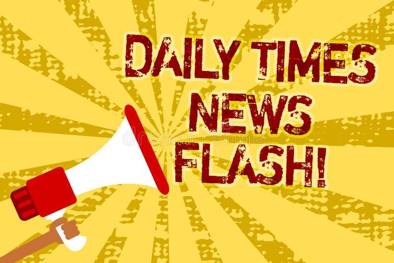 Εννοιολογικό χέρι που γράφει παρουσιάζοντας καθημερινή λάμψη χρονικών ειδήσεων Η γρήγορη απάντηση κειμένων επιχειρησιακών φωτογρα απεικόνιση αποθεμάτων