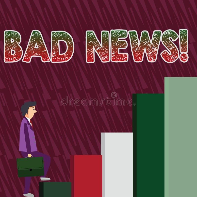 Εννοιολογικό χέρι που γράφει παρουσιάζοντας κακές ειδήσεις Το ανεπιθύμητο πρόβλημα πράγματος ή επίδειξης κειμένων επιχειρησιακών  διανυσματική απεικόνιση