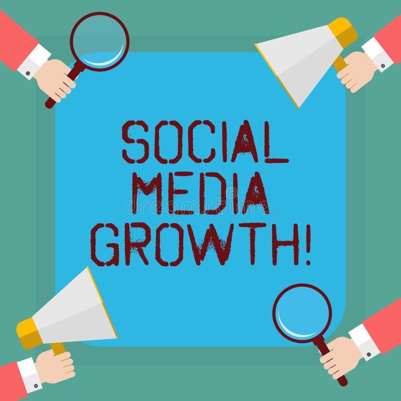 Εννοιολογικό χέρι που γράφει παρουσιάζοντας κοινωνική αύξηση MEDIA Το μάρκετινγκ επίδειξης επιχειρησιακών φωτογραφιών λαμβάνεται  διανυσματική απεικόνιση