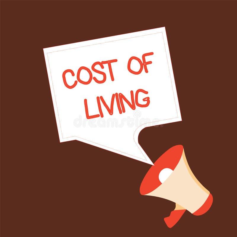 Εννοιολογικό χέρι που γράφει παρουσιάζοντας κόστος ζωής Κείμενο επιχειρησιακών φωτογραφιών το επίπεδο τιμών σχετικά με μια σειρά  διανυσματική απεικόνιση