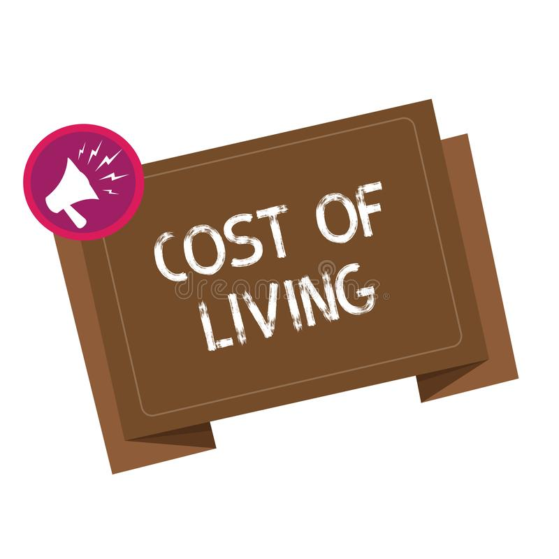 Εννοιολογικό χέρι που γράφει παρουσιάζοντας κόστος ζωής Επιχειρησιακή φωτογραφία που επιδεικνύει το επίπεδο τιμών σχετικά με μια  διανυσματική απεικόνιση