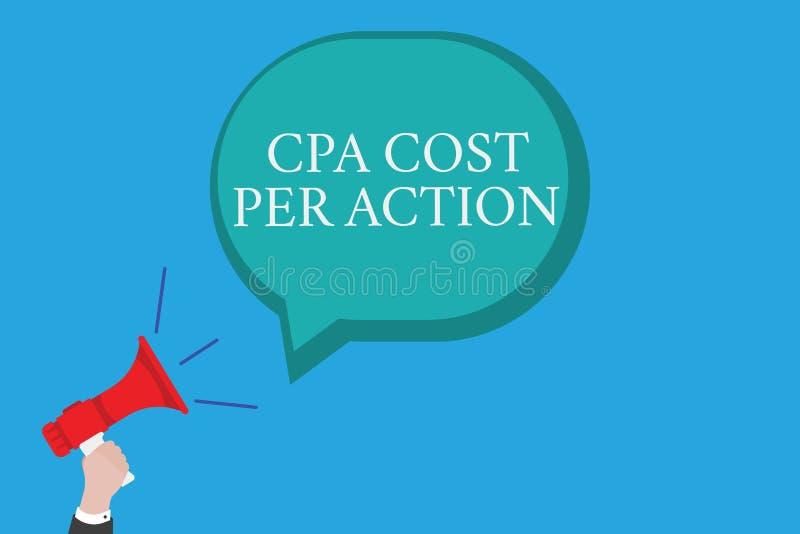 Εννοιολογικό χέρι που γράφει παρουσιάζοντας κόστος Cpa ανά δράση Η Επιτροπή κειμένων επιχειρησιακών φωτογραφιών πλήρωσε πότε ο χρ απεικόνιση αποθεμάτων
