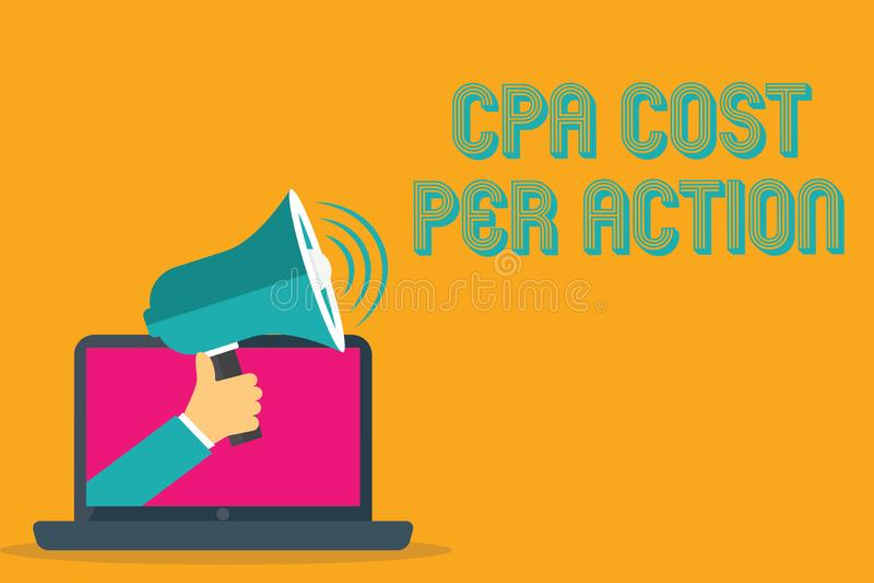 Εννοιολογικό χέρι που γράφει παρουσιάζοντας κόστος Cpa ανά δράση Η Επιτροπή κειμένων επιχειρησιακών φωτογραφιών πλήρωσε πότε ο χρ διανυσματική απεικόνιση