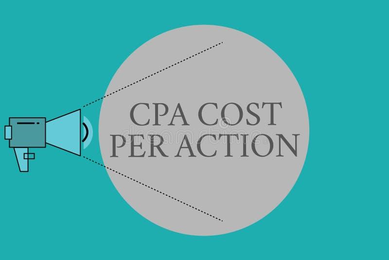Εννοιολογικό χέρι που γράφει παρουσιάζοντας κόστος Cpa ανά δράση Η Επιτροπή κειμένων επιχειρησιακών φωτογραφιών πλήρωσε πότε ο χρ ελεύθερη απεικόνιση δικαιώματος