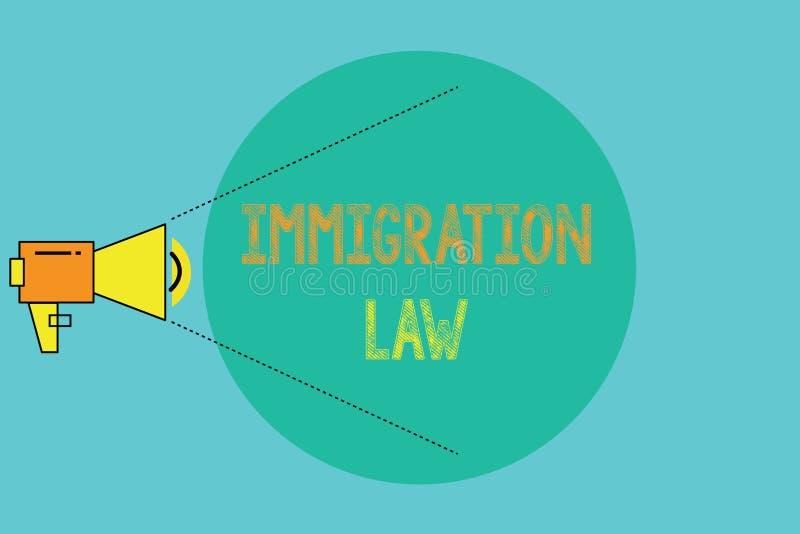 Εννοιολογικό χέρι που γράφει παρουσιάζοντας νόμο μετανάστευσης Η αποδημία επίδειξης επιχειρησιακών φωτογραφιών ενός πολίτη θα είν διανυσματική απεικόνιση