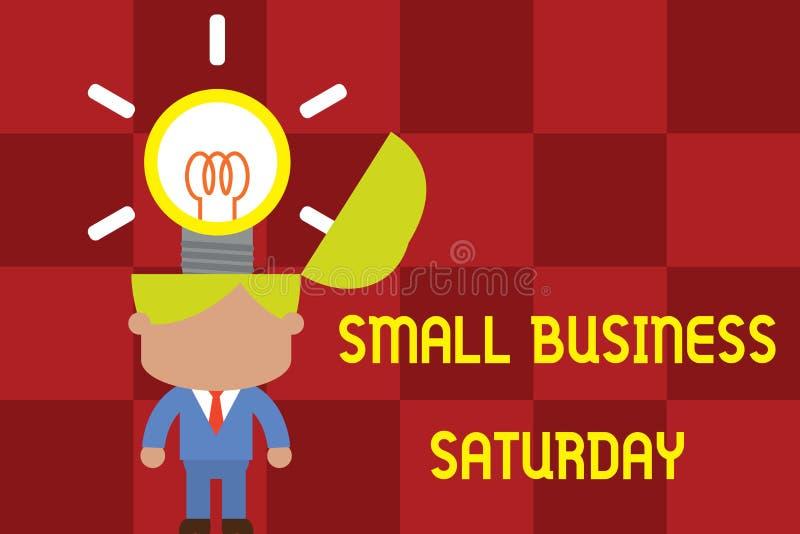 Εννοιολογικό χέρι που γράφει παρουσιάζοντας Σάββατο μικρών επιχειρήσεων Επιχειρησιακών φωτογραφιών κειμένων διακοπές αγορών που κ διανυσματική απεικόνιση