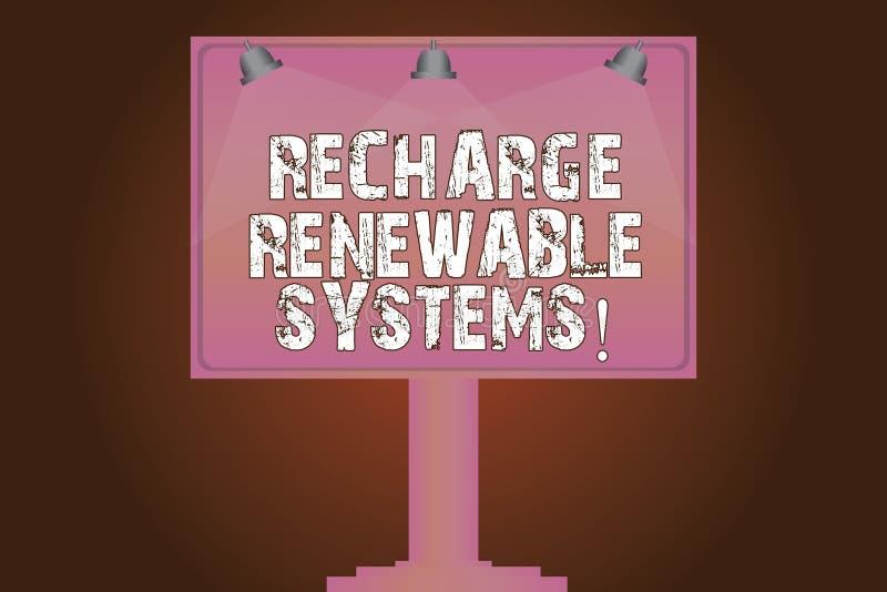 Εννοιολογικό χέρι που γράφει παρουσιάζοντας στην επαναφόρτιση ανανεώσιμα συστήματα Καθαρή και βιώσιμη ενέργεια κειμένων επιχειρησ απεικόνιση αποθεμάτων