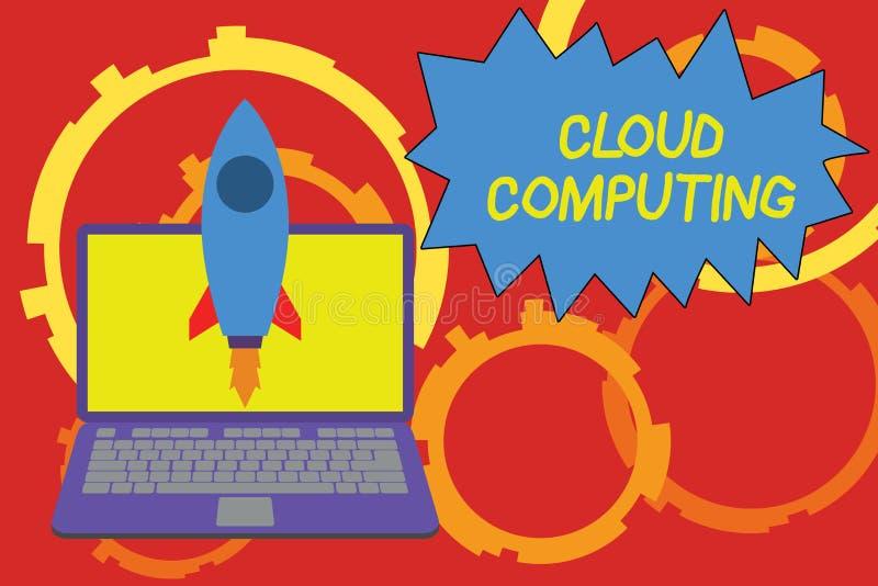 Εννοιολογικό χέρι που γράφει παρουσιάζοντας υπολογισμό σύννεφων Χρήση επίδειξης επιχειρησιακών φωτογραφιών ένα δίκτυο των μακρινώ ελεύθερη απεικόνιση δικαιώματος