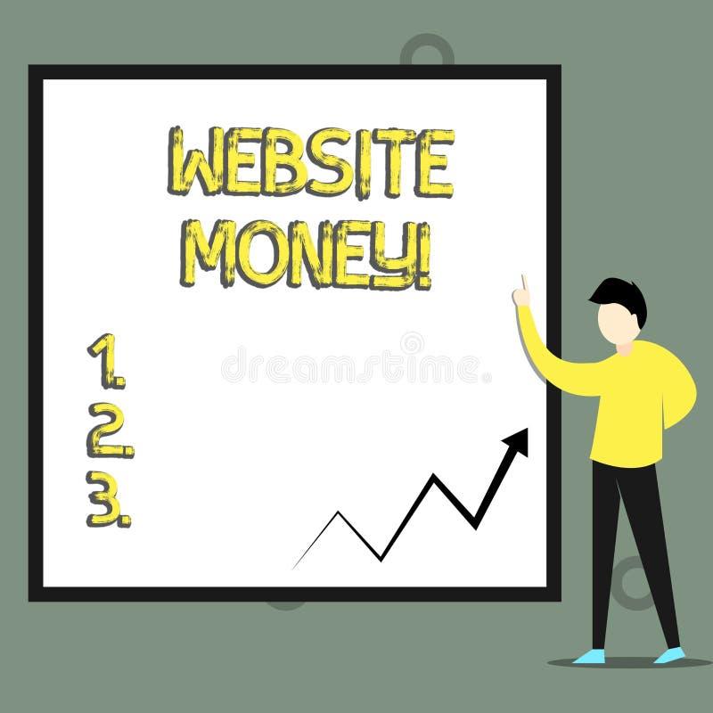 Εννοιολογικό χέρι που γράφει παρουσιάζοντας χρήματα ιστοχώρου Το κείμενο επιχειρησιακών φωτογραφιών αναφέρεται στον ιστοχώρο που  απεικόνιση αποθεμάτων