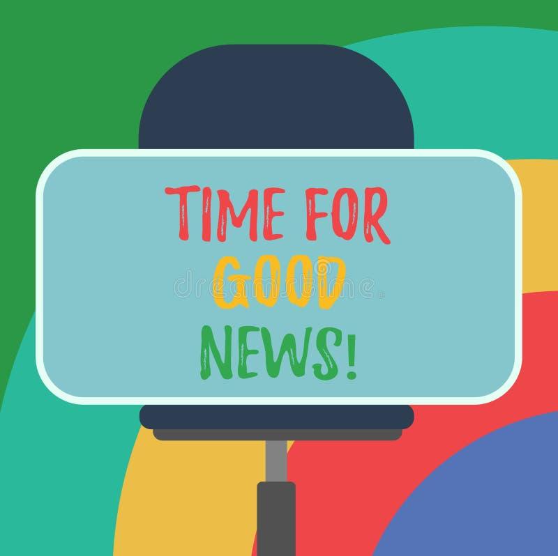 Εννοιολογικό χέρι που γράφει παρουσιάζοντας χρόνο για τις καλές ειδήσεις Μετάδοση κειμένων επιχειρησιακών φωτογραφιών μεγάλου ευτ διανυσματική απεικόνιση