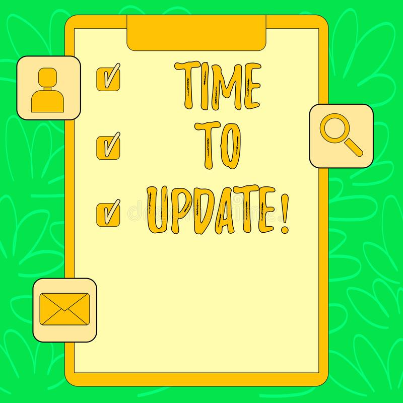 Εννοιολογικό χέρι που γράφει παρουσιάζοντας χρόνο να ενημερώσει Αναγκαία αλλαγές ανακαίνιση ενημέρωσης ανανέωσης κειμένων επιχειρ απεικόνιση αποθεμάτων