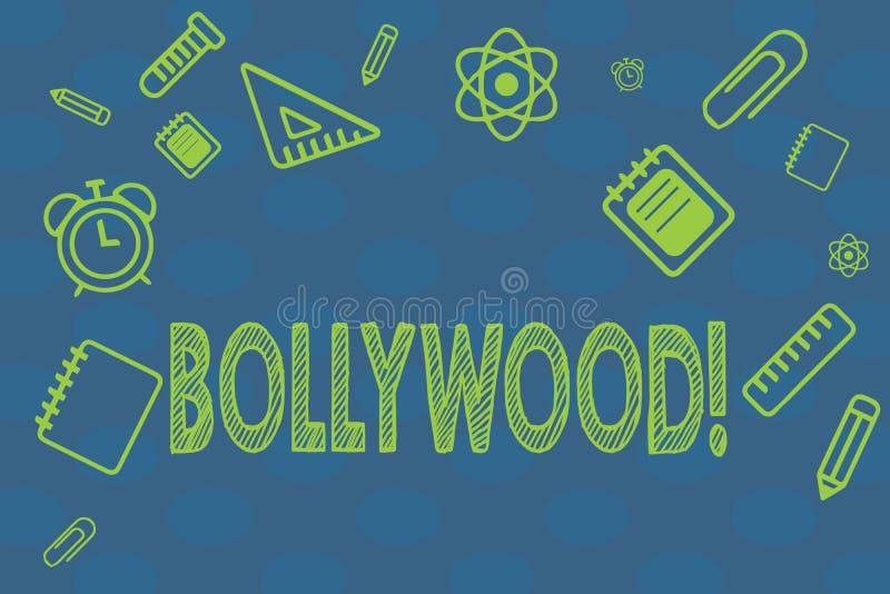 Εννοιολογικό χέρι που γράφει παρουσιάζοντας Bollywood Ινδική δημοφιλής κινηματογραφία Mumbai βιομηχανίας κινηματογράφων ταινιών κ ελεύθερη απεικόνιση δικαιώματος