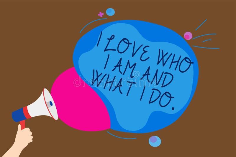 Εννοιολογικό χέρι που γράφει παρουσιάζοντας cWho αγάπης Ι είμαι και τι κάνω Υψηλός μόνος-μίσχος κειμένων επιχειρησιακών φωτογραφι διανυσματική απεικόνιση