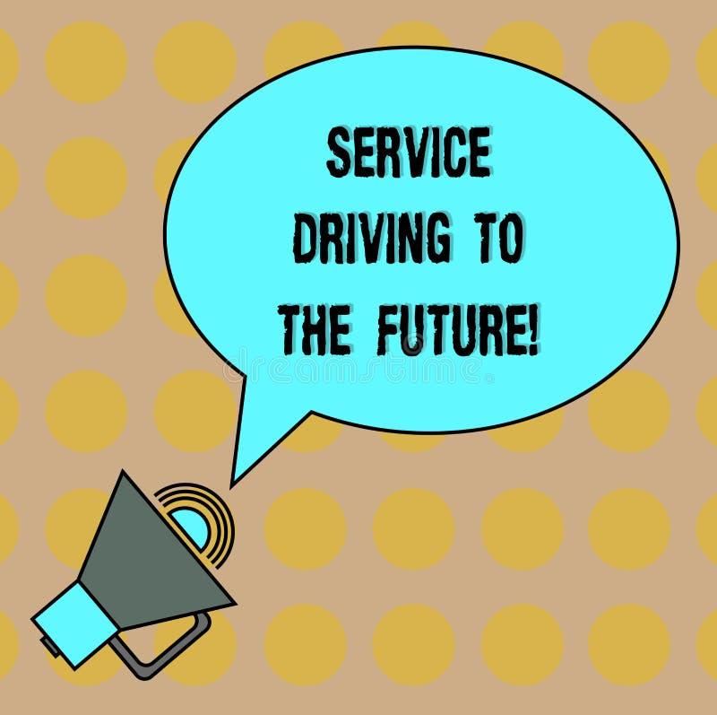 Εννοιολογικό χέρι που γράφει παρουσιάζοντας Drive υπηρεσιών στο μέλλον Σύγχρονο Oval υπηρεσιών βοήθειας τεχνολογιών κειμένων επιχ διανυσματική απεικόνιση