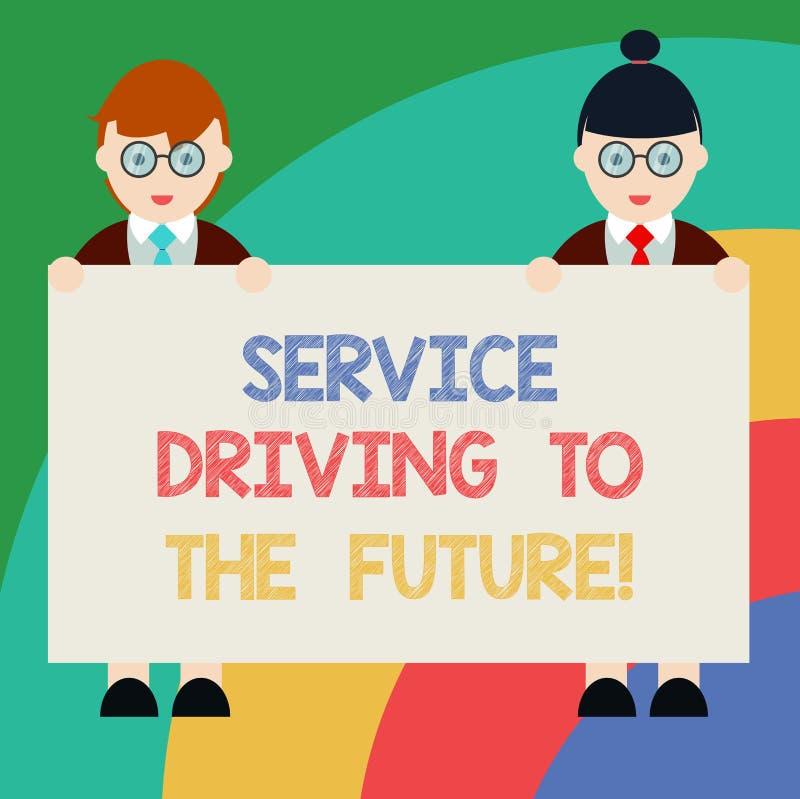 Εννοιολογικό χέρι που γράφει παρουσιάζοντας Drive υπηρεσιών στο μέλλον Σύγχρονη βοήθεια τεχνολογιών κειμένων επιχειρησιακών φωτογ διανυσματική απεικόνιση